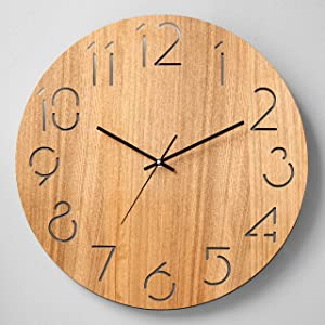 Beverly Hills Polo Club's Real Wood Wall Clock -18-Inch Battery Operated Handmade No Tick Clock - Tuscan Style with Vintage Rustic Design, Provides a Unique Room Decor