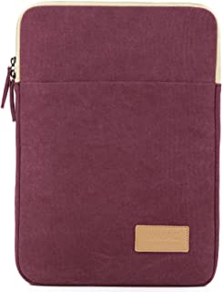 Kinmac Wine Red Canvas Vertical Style Waterproof Laptop Sleeve with Pocket for 13.3 inch-13.5 inch Laptop and Old MacBook Air 13
