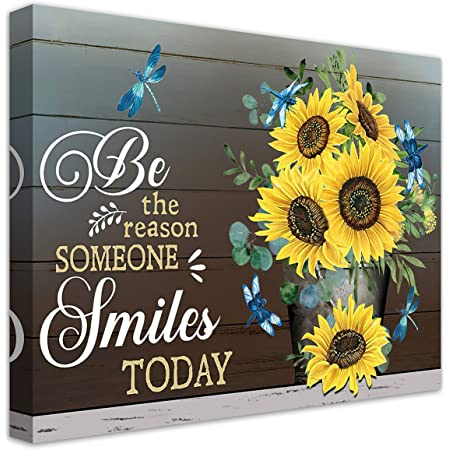 Amazon Com Inspirational Quotes Wall Art Sunflower Smile Today Motivational Canvas For Office Living Room Kitchen Decor Pictures Prints Artwork Framed Ready To Hang 16x20inch Posters
