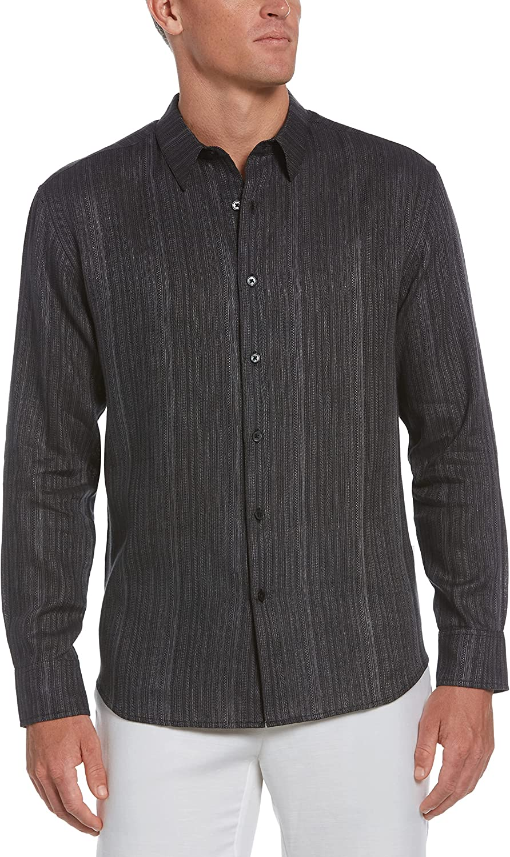 Cubavera Men's Long Sleeve L/C Shirt Tail Hem Dobby Guayabera