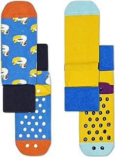 Happy Socks Unisex 2-Pack Swan Anti-Slip Socks, Multicolour, 2-3Y