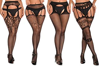 Womens Up Pantyhose Fishnet Stockings Tights Lace Flowery Stockings for Sexy Women Thigh High Hosiery 4 Pairs
