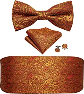 Barry.Wang Men Tie and Bowtie Set Classic Paisley Floral with Handkerchief Cufflinks Silk Jacquard Adjustable Necktie