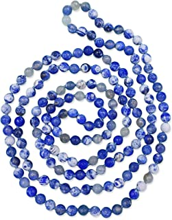 60-Inch 8MM Faceted Finish Genuine Stone Endless Infinity or Multi Strand Statement Necklace.