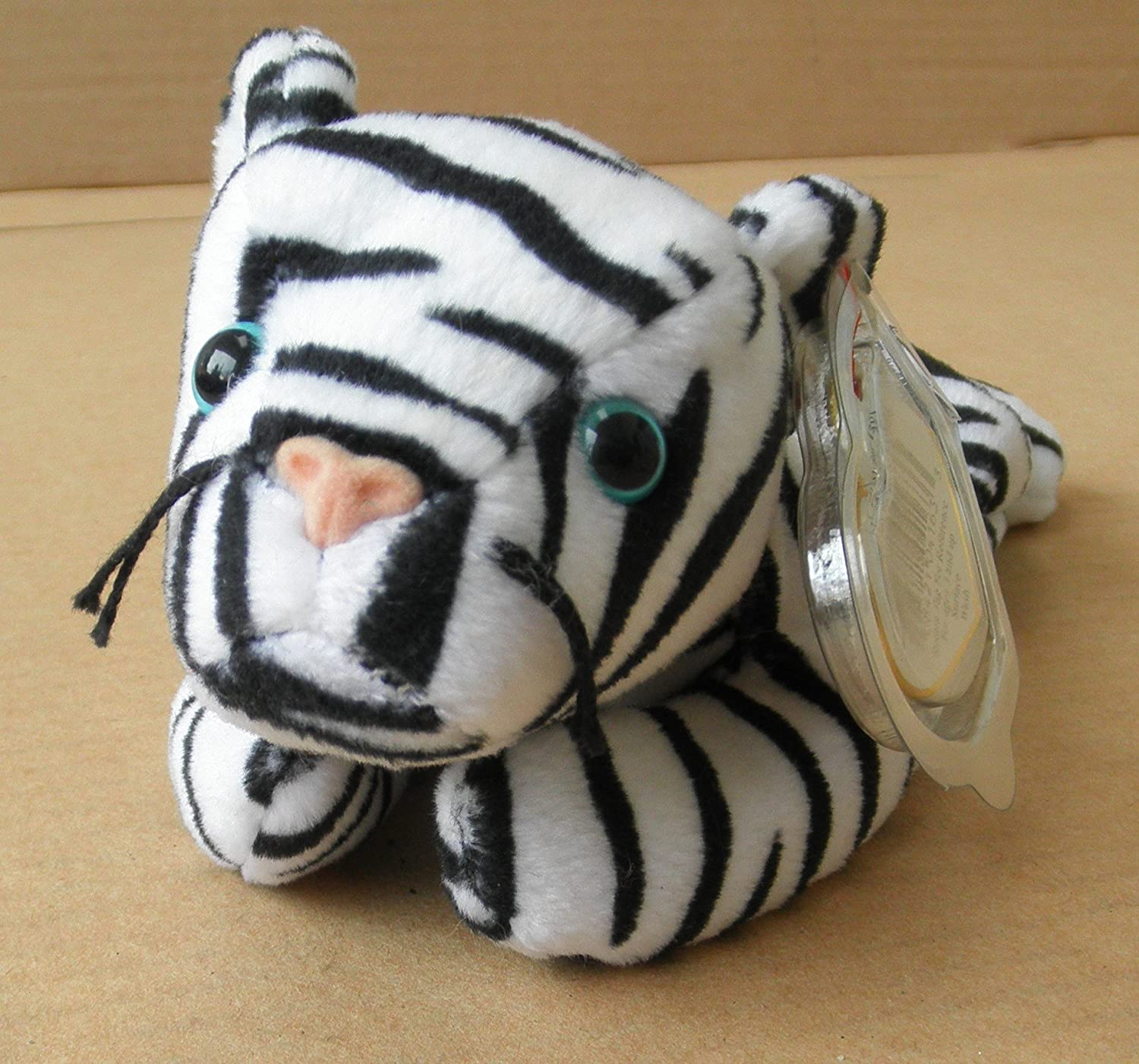 TY Beanie Babies Blizzard the White Tiger Stuffed Animal Plush Toy - 8 inches long - Black and White Stripes by Smartbuy