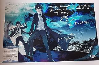 Bryce Papenbrook & Johnny Yong Bosch autographed 11x17 Photograph Rin Okumura & Yukio Okumura Blue Exorcist Kyoto Saga w/insc. Beckett