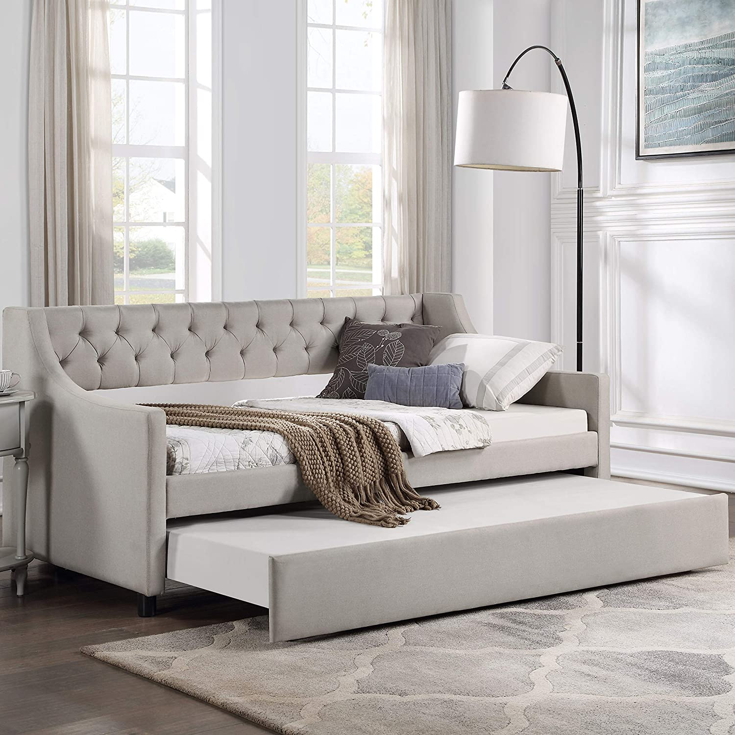 Daybed with Max 45% OFF A Trundle Upholstered Bed Tufted Sofa Philadelphia Mall