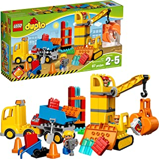 LEGO Duplo Big Construction Site 10813 Toddler Construction Toy Set with Toy Dump Truck, Crane and Bulldozer (67 Pieces)