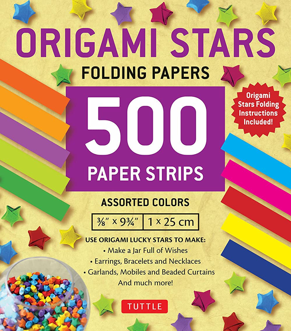 Origami Stars Papers 500 Paper Strips in Assorted Colors: 10 Colors - 500 Sheets - Easy Instructions for Origami Lucky Star
