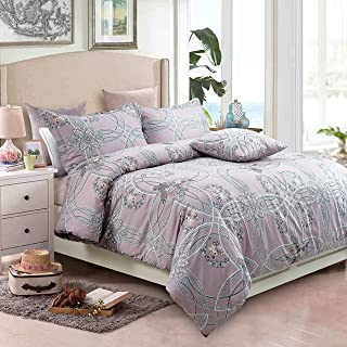 Softta Shabby Floral Designer Design Bedding Sets King Size 3Pc Zipper Closure(1 Duvet Cover +2 Pillowcase/Shams) 100% Egyptian Cotton Geometry Round Medallion Pattern