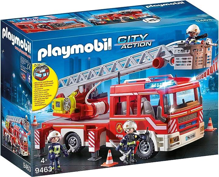 Playmobil city action 9463 - autoscala dei vigili del fuoco, dai 4 anni