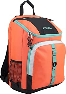 Fuel Top Load Sport Backpack with Side Tech Compartment and Ergonomic Padded Mesh Breathable Back, Coral Sizzle/Turquoise Trim
