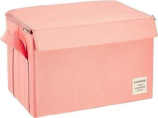 東洋ケース ストレリアナチュレ ケース 収納ボックス ふた付き Mサイズ 幅33×奥行22×高さ22cm ピンク ESTN-CBM-PK