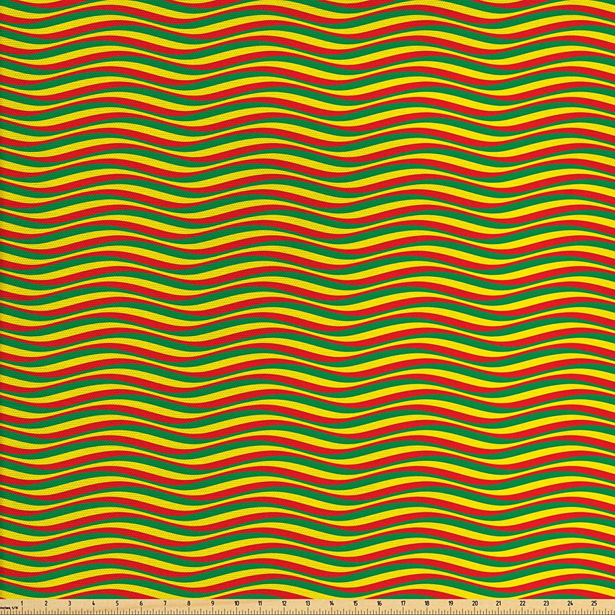 Ambesonne Rasta Fabric by The Yard, Vivid Colors Ethiopian African Flag Colors in Wavy Style Stripes Image, Decorative Fabric for Upholstery and Home Accents, 2 Yards, Marigold Green and Red