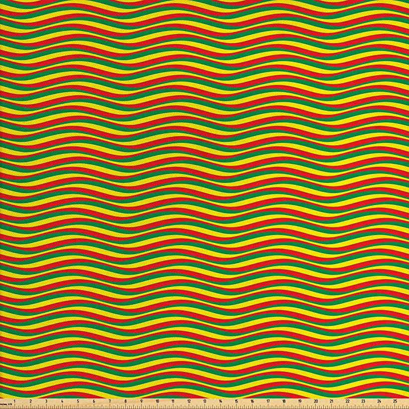 Ambesonne Rasta Fabric by The Yard, Vivid Colors Ethiopian Flag Colors in Wavy Style Stripes Image, Decorative Fabric for Upholstery and Home Accents, 3 Yards, Marigold Green and Red