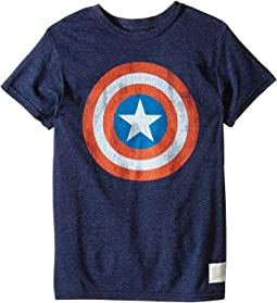 The Original Retro Brand Kids - Captain America Tri-Blend Tee (Little Kids/Big Kids)