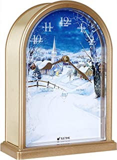 Polaris Silent Night 12 Song of Carols of Christmas Table Clock Christmas Decorating Multicolor Unique Gift Selection (Gold Brushed)
