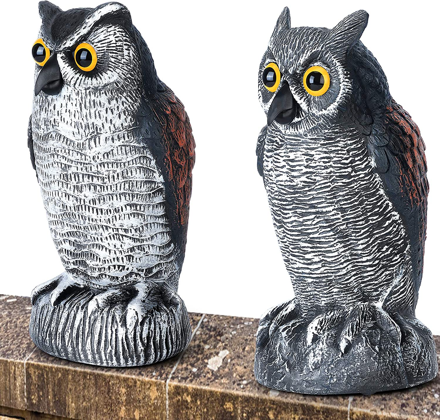 2 Pack Plastic Owl to Keep Birds Away,Owl Scarecrows for Bird Control for Garden Yard Outdoor