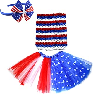 Dreamdanceworks July 4th American Flag Tutu Skirt Outfit Girls Red White Blue