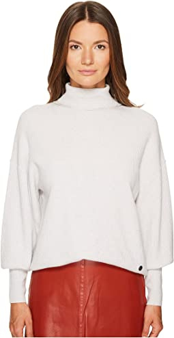 Waffle Knit Turtleneck Sweater