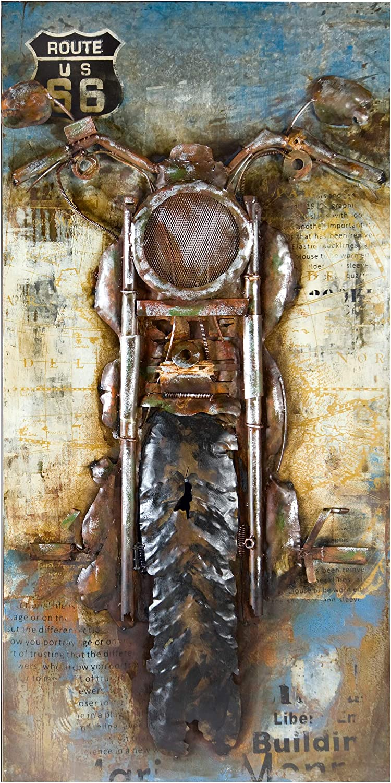 GILDE Gallery Bild Motorcycle - Kunstobjekt - handgefertigte Metallkunst 70x140 cm B00DQVXZMU