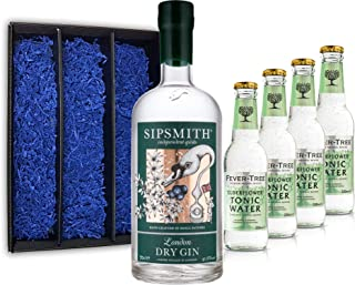 Gin Tonic Geschenkset - Sipsmith London Dry Gin 0,7l 700ml 41,6% Vol  4x Fever Tree Elderflower Tonic Water 200ml inkl. Pfand MEHRWEG -Enthält Sulfite