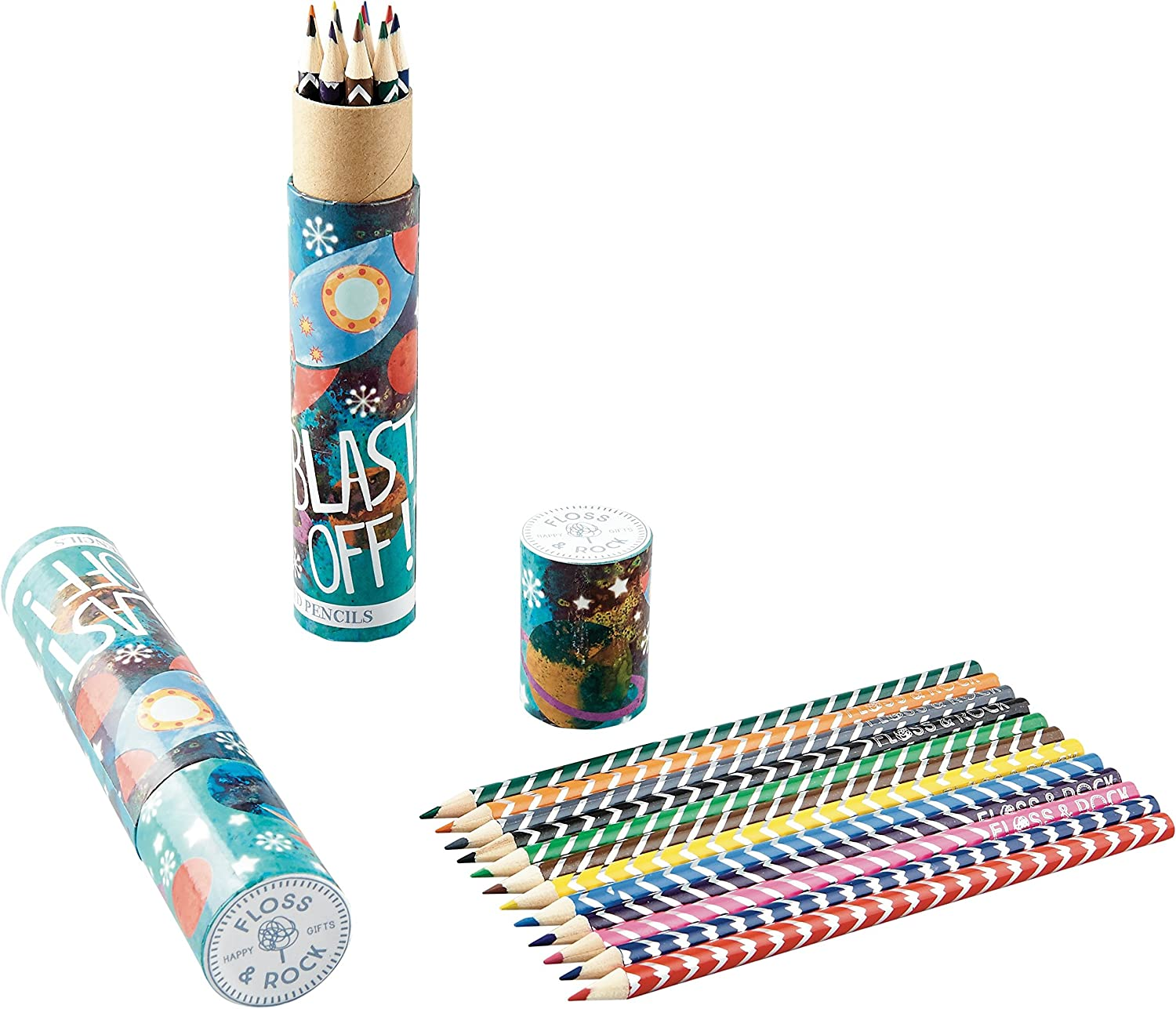 Blast Off Rocket Ship 12 NEW before selling shipfree Piece D Pack in Assorted Colored Pencil