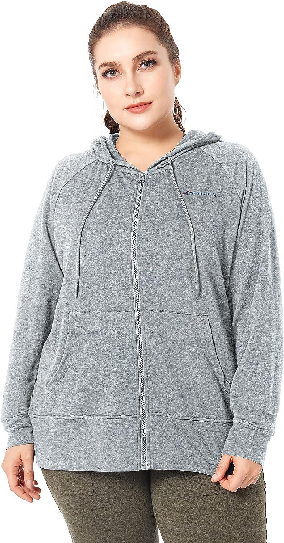 ZERDOCEAN Women's Thin Plus Size Full Zip-Up Hoodie Jacket Sweatshirt