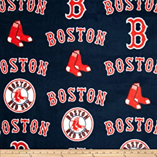 Fabric Traditions MLB Fleece Boston Sox Toss White/Red Fabric by The Yard
