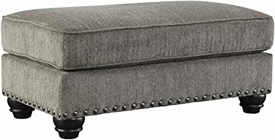 Benjara Rectangle Shaped Ottoman with Cushioned Top and Nail Head Trims, Gray