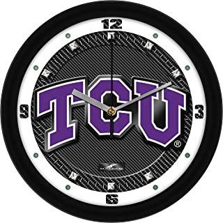 SunTime Texas Christian Horned Frogs - Carbon Fiber Textured Wall Clock