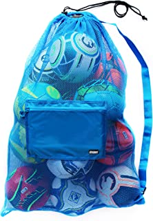 Fitdom Extra Large Heavy Duty Mesh Bag. Best for Soccer Ball, Water Sports, Beach Cloth, Swimming Gears. Adjustable Should...