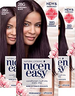 Clairol Nice'n Easy Permanent Hair Color, 2BG Burgundy Black, 3 Count