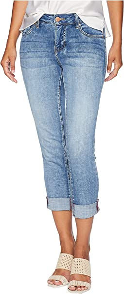 2d838f0978f Petite Carter Girlfriend Crosshatch Denim Jeans in Thorne Blue w   Destruction
