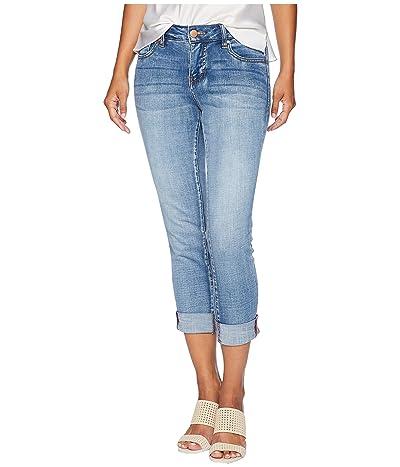 Jag Jeans Petite Petite Carter Girlfriend Crosshatch Denim Jeans in Thorne Blue w/ Destruction (Mid Vintage) Women