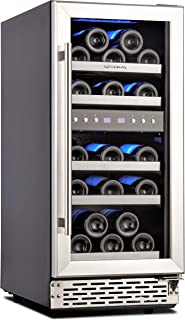 Phiestina 15 Inch Dual Zone Wine Cooler Refrigerator - 29 Bottle Built-in or Free-standing Frost Free Compressor Wine Refr...