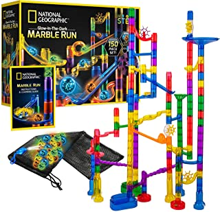 NATIONAL GEOGRAPHIC Glowing Marble Run – 150 Piece Construction Set with 30 Glow in the Dark Glass Marbles, Mesh Storage Bag, Great Creative STEM Toy for Girls and Boys