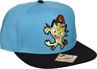 Bioworld Pokemon Meowth - Gorra de Snapback con Bordado de Color Turquesa
