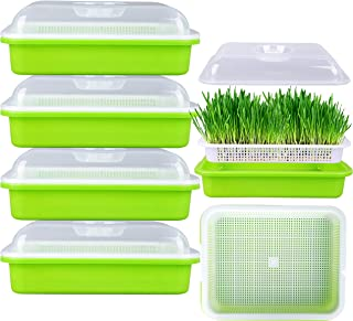 FiGoal 4 Pack Sprout Tray with Cover Soil-Free Seeds Grower and Storage Trays for Garden Home Kitchen Use with Bonus Spray...