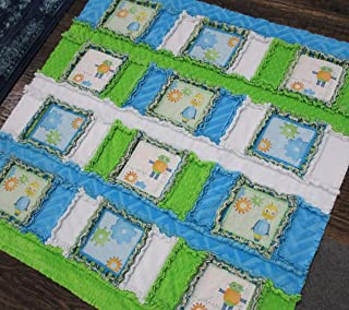Boys ROBOT Minky Baby Quilt GEARS Rag Crib Cuddle Blanket Blue Green Cotton Play Mat