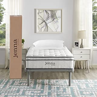 """Modway AMZ-5768-WHI Jenna 10"""" Twin Innerspring Mattress - Top Quality Quilted"""