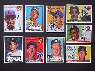 Ultimate 1950's (9) Card Topps Baseball Rookie Reprint Lot #1 featuring *Mickey Mantle, Willie Mays, Eddie Mathews, Hank Aaron, Ernie Banks, Al Kaline, Roberto Clemente, Sandy Koufax, Harmon Killebrew