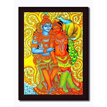 Tamatina Framed Canvas Painting Lord Krishna Attacks Bhishma Pitamah Hd Quality Religious Wooden Texture Frame With 2mm Glass Size 15 5 Inch X 11 5 Inch 40x30 Cms Frame