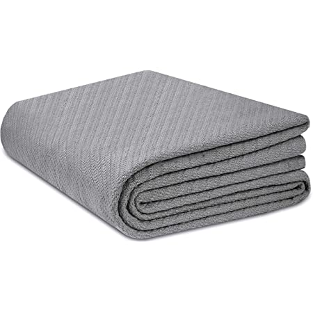 COTTON CRAFT - Super Soft Premium Cotton Herringbone Twill Thermal Blanket - Full/Queen Grey