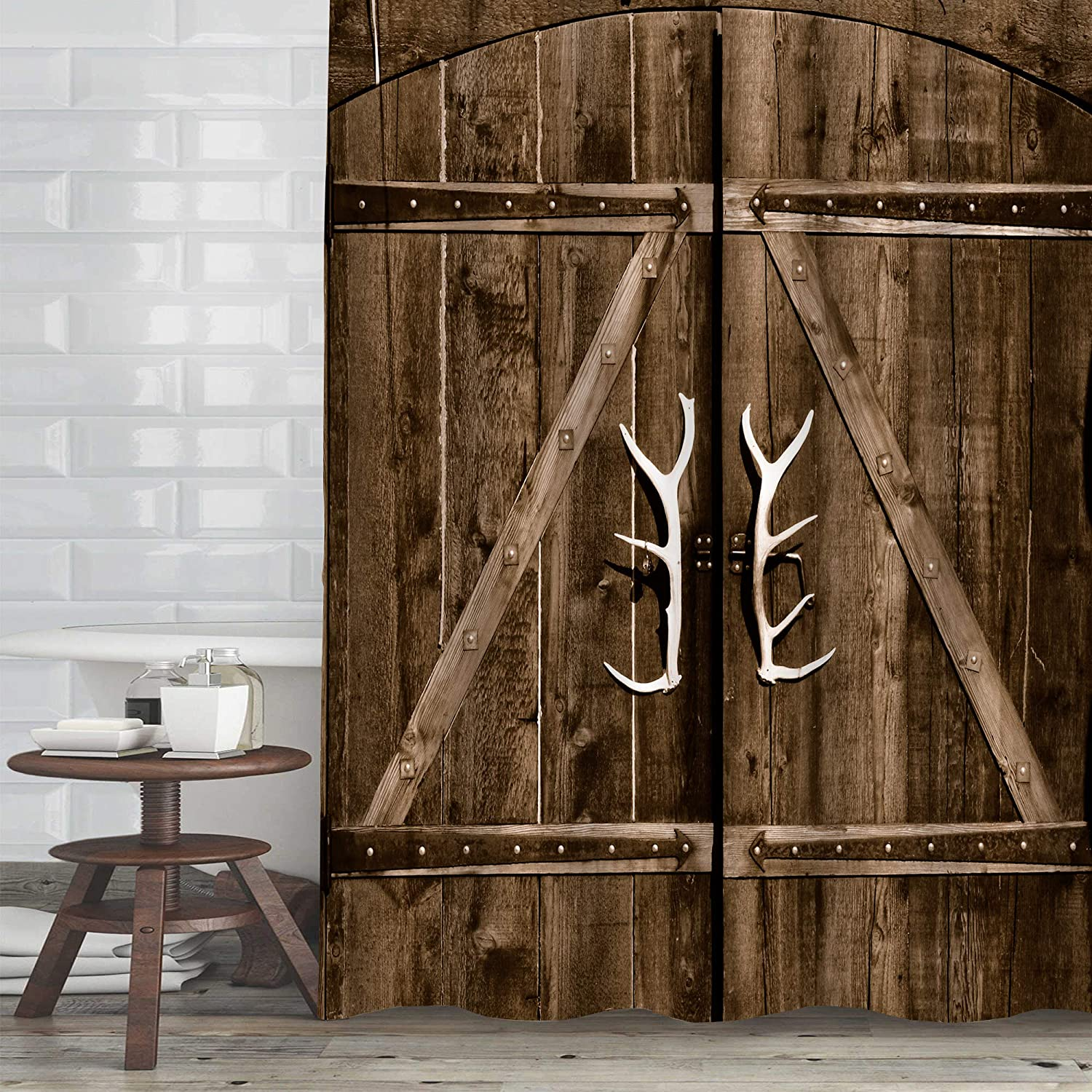 MitoVilla Wooden Barn Door Max 43% OFF Shower Hooks Sales results No. 1 with Rustic Set Curtain