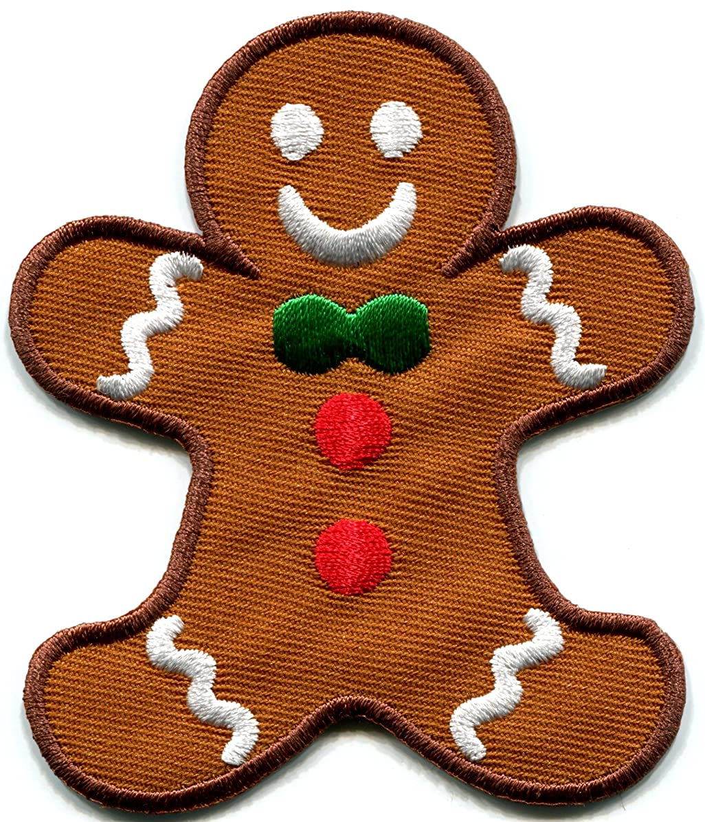 Gingerbread Man cookie kids fun sweets buscuit Christmas embroidered applique iron-on patch new