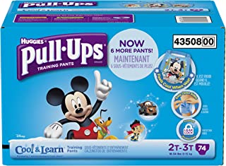 Huggies Pull-Ups Training Pants with Cool and Learn for Boys, Size 2T-3T, 74 Count