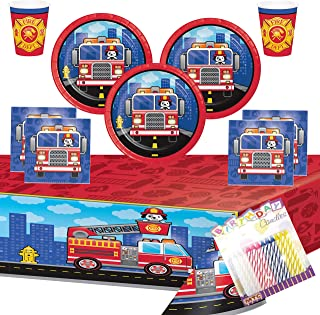 Flaming Fire Truck Party Supplies Pack (Serves-16) Dessert Plates Beverage Napkins Cups and Table Cover with Birthday Candles (Bundle for 16)