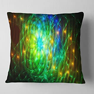 Designart Green Fractal Symphony of Colors' Abstract Throw Cushion Pillow Cover for Living Room, sofa 18 in. x 18 in