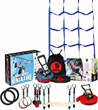 Slackers Ninja Climbing Line with Cargo Net (30' & 50' Varieties)   Ninjaline   Slackline Obstacle Course   Slackersline   Ninja Warrior Kit (50')